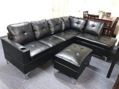 S7704 Black Sectional with Ottoman