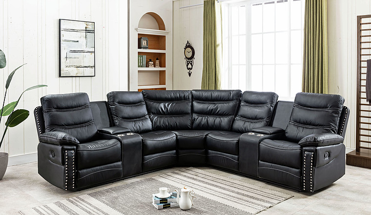 s7784 Reclining Sectional wih Nailheads